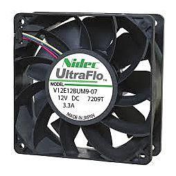 Nidec UltraFlo 120× 120 × 38 mm ventilátor pro AntMiner/Rig, 6000 ot/min -  W12E12BS11B5-07 12V 1.65A (Použitý)